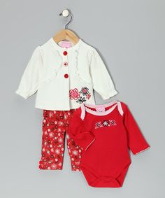Look what I found on #zulily! Duck Duck Goose Red & White Floral Cardigan Set by Duck Duck Goose #zulilyfinds