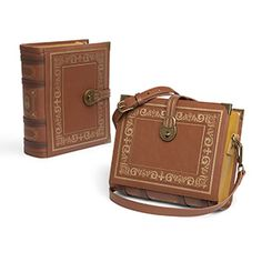 (Traci) We figured it was about time we put our savings into our books literally with this Olde Book Purse. It looks like an old leather-bound volume you'd find in your grandmother's library, but it functions like a handbag.
