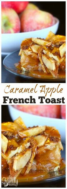 This Caramel Apple French Toast is one of our favorite Fall breakfasts. You will LOVE the soft French toast with the crisp apples and gooey caramel! via @favfamilyrecipz