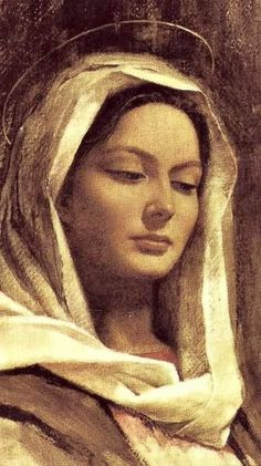 Ave Maria from a prayer card. The peaceful, knowing expression is captivating. Divine Mother, Blessed Mother Mary, Blessed Virgin Mary, Madonna Art, Madonna And Child, Catholic Art, Religious Art, Religion, Queen Of Heaven