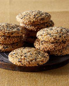 Martha's Tahini Cookies   Martha Stewart - Rolling the dough in sesame seeds enhances the flavor of the tahini and gives the cookies a satisfying crunch. #tahini #sesameseed #cookierecipe