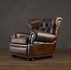 """Churchill leather reclining chair from Restoration Hardware. A man's chair, a chair that says """"Bring my brandy and cashmere sweater while I finish this cigar and then order you diamonds."""" For the cigar room! Leather Restoration, Restoration Hardware, Man Cave Furniture, Furniture Ideas, Furniture Design, Pipe Furniture, Furniture Vintage, Leather Recliner Chair, Leather Chairs"""
