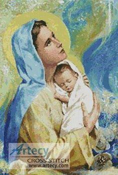 Mary and Baby Jesus cross stitch pattern.