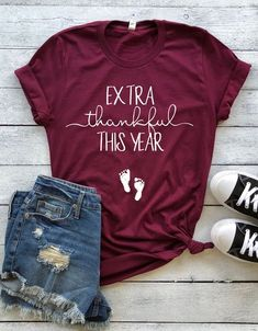 03304f214e7c4 extra thankful this year shirt™, pregnancy announcement shirt, does this  shirt make me look pregnant, Pregnancy reveal, baby announcement