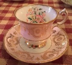 Sweet Pink Paragon Gold Filigree Fancy Flowers Tea Cup & Saucer