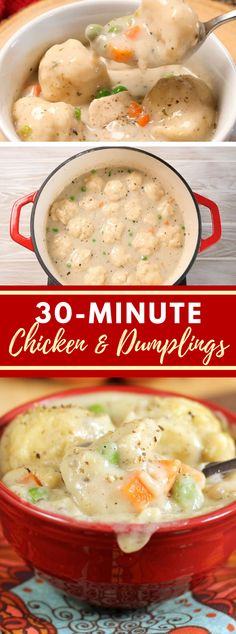 Chicken and Dumplings - Next on the menu! - Chicken and Dumplings The Effective Pictures We Offer You About chick - Whole 30 Chicken Recipes, Cooking Whole Chicken, Shredded Chicken Recipes, Yummy Chicken Recipes, Chicken And Dimplings, Chicken Meals, Teriyaki Chicken, Chicken Dumpling Soup, Crockpot Chicken And Dumplings