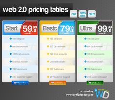 Web 2.0 Pricing Tables New #pricingtable