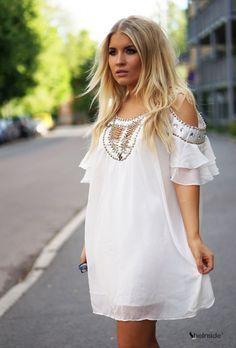 White Off the Shoulder Bead Rhinestone Chiffon Dress