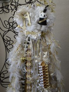 Custom Girls Homecoming Mum size Triple with feather boas. $150.00, via Etsy.