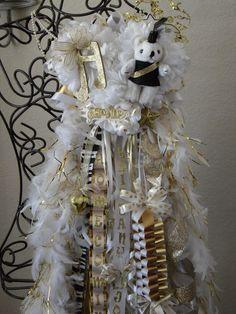 Custom Girls Homecoming Mum size Triple with feather boas. $150.00, via Etsy.