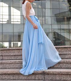 High Waist Maxi Skirt Chiffon Silk Skirts Beautiful Bow Tie Elastic Waist Summer Skirt Floor Length Long Skirt (037), #21