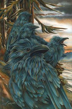 Bergsma Gallery Press :: Paintings :: Nature :: Birds :: Birds of Prey :: Ravens… Native Art, Native American Art, Raven Bird, Crow Art, Bird Artwork, Indigenous Art, Wildlife Art, Animal Photography, Fantasy Art