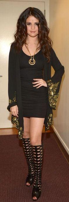 Selena Gomez: Dress worn as a cardigan – Pas Pour  Shoes – Brian Atwood  Necklace – House of Lavande