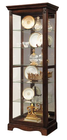 Two-Way Slider Curio Cabinet in Foxhall Brown by Pulaski - Home Gallery Stores