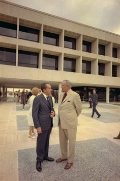 President Nixon standing with Lyndon Johnson outside the LBJ library in Austin - May 22, 1971