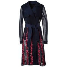 Bcbg Maxazria Korie Floral Embroidered Trench Coat (1.460 BRL) ❤ liked on Polyvore featuring outerwear, coats, blu, blue coat, blue trench coat, embroidered coat, bcbgmaxazria and trench coat