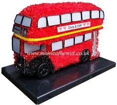 Double Decker Red London Bus - Bespoke Funeral Flowers and Tribute Art by Monica F Hewitt Florist Sheffield http://www.monicafhewitt.co.uk/