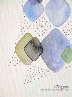 Rhombus watercolor painting by Thévy Guex-le blog de Thévy! http://thevy-guex.blogspot.com/