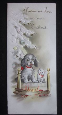 Vintage Christmas Greeting Card Angel Dog and Cat by Fireplace Tree Mid Century