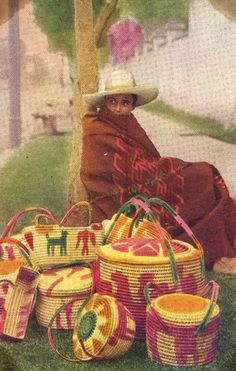 Vintage postcard featuring Mexican baskets and merchant.