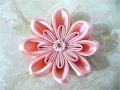 Цветок Канзаши из тройных лепестков ✄ Kulikova Anastasia - YouTube