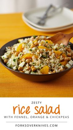 Rice Salad with Fennel, Orange and Chickpeas - Forks Over Knives. approx 4 SP per serving.
