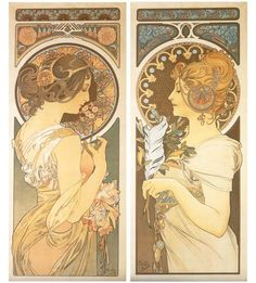 Primrose and Feather by Alphonse Mucha, 1899.