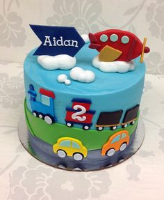 Airplanes, trains and cars! 2 Birthday Cake, Cars Birthday Parties, Cupcakes, Cupcake Cakes, Transportation Birthday, Second Birthday Ideas, Cakes For Boys, Creative Cakes, Party Cakes