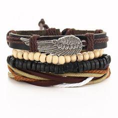 4 PCS/SET Punk Turkish Wing Bracelets for Women Men Beads Wristband Cuff Leather Bracelet Ethnic Vintage Jewelry Bijouterie Metal Bracelets, Bracelets For Men, Bangle Bracelets, Hippie Bracelets, Hippie Jewelry, Fashion Bracelets, Owl Bracelet, Stone Bracelet, Braided Leather
