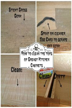 how to clean the greasy gunk off your cabinets above your stove