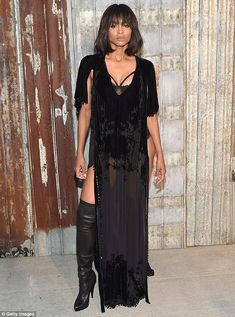 Daring dress: Ciara's sheer black frock was split all the way up both sides to reveal her ...