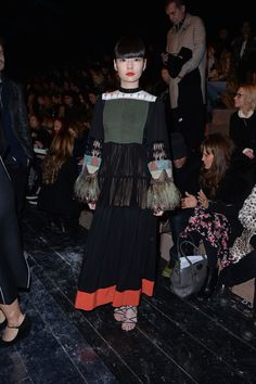 Kozue Akimoto in a Spring/Summer 2016 look to the Valentino Fall/Winter 2016-17 fashion show on March 8th 2016.