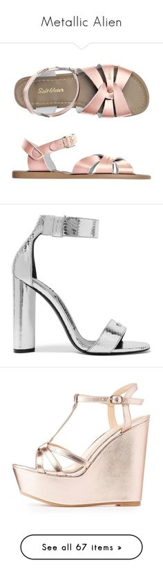 """""""Metallic Alien"""" by purplerox24 ❤ liked on Polyvore featuring shoes, sandals, leather shoes, leather sandals, leather footwear, real leather shoes, genuine leather shoes, heels, high heels and sapato"""