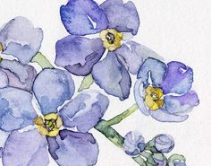 Forget Me Not Painting Print from my by TheColorfulCatStudio