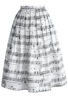 Dance With Music Notes Pleated Midi Skirt - Skirt - Bottoms - Retro, Indie and Unique Fashion