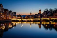 Old Town reflected on Limmat river Old Town, Switzerland, River, Pretty Pictures, Abstract, Nice Asses, Old City, Rivers