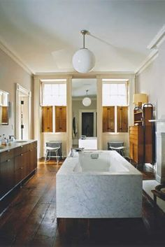 Julianne Moore's remodeled West Village townhouse, designed by Brooklyn-based MADE LLC, was featured in the March 2006 issue of World of Interiors (photographed by Thibault Jeanson); World Of Interiors, Home Interior, Bathroom Interior, Interior Design, Design Industrial, West Village, Beautiful Bathrooms, Romantic Bathrooms, Fancy Bathrooms
