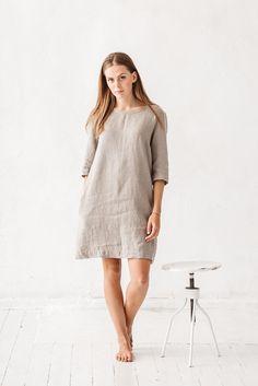 Linen dress, Natural grey linen dress, Loose dress, Linen tunic, Minimal linen tunic, Stone washed, Linen clothes, Organic linen, Dress by Linenfox on Etsy https://www.etsy.com/listing/268618811/linen-dress-natural-grey-linen-dress
