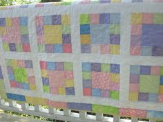 Baby quilt made in soft pastels, baby boy, baby girl