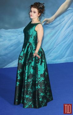 "Helena Bonham Carter attends the UK premiere of ""Cinderella"" at Odeon Leicester Square in London in a custom Vivienne Westwood Couture gown."