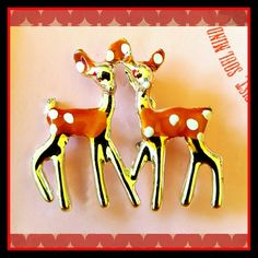 """Deer Friends Brooch  UNIQUE Cute Vintage Orange & white polka dot and Gold vintage brooch.  Nice vintage quality and collectable statement piece.  Size= 1 1/2""""x 1 1/2"""" Vintage Jewelry Brooches"""