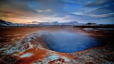 Námafjall Hverir  ||  Námafjall is a mountain near Mývatn in the North East of Iceland. The mountain is close to the Kraftla volcano and is right in the middle of a geothermal area. The mountain is hot and the snow melts much quicker on Námafjall. https://icelandaurora.com/photo-tours/namafjall-hverir/?utm_campaign=crowdfire&utm_content=crowdfire&utm_medium=social&utm_source=pinterest