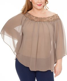Look at this #zulilyfind! Taupe Sheer Crochet-Yoke Cape-Sleeve Top - Plus by Buy in America #zulilyfinds