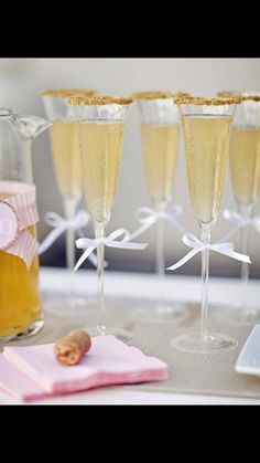 Champagne glasses glitter and glamour. New Year's Eve party. This would be lovely as an welcome drink / cocktail at birthday party, baby shower or any party!!