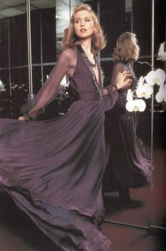 Chris Royer in a dress by Halston, mid 1970s Towards the mid to end of the 70s, ensembles started getting very drapey because people wanted to be comfortable, and luxurious. Designers like Halston did this very well