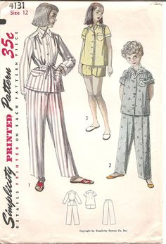 1950s Girls Pajamas  Vintage Pattern Simplicity by ErikawithaK