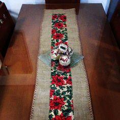 Resultado de imagen para camino de mesa boho rustico navideño en arpillera