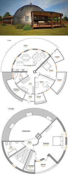 План двухэтажного жилого купольного дома