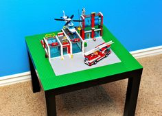 Hacking the IKEA Lack table: Lego table for kids Table Lego Ikea, Lego Play Table, Laquer Une Table, Mesa Lego, Ikea Lack Side Table, Lego Storage, Storage Ideas, Cool Diy, Legos