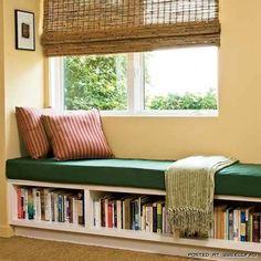 bookshelves under bench seat